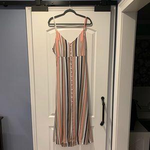 Midi Length Tie Back Striped Dress